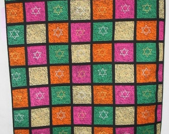 Table Runner with Colored Squares with Stars  #238