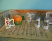 Cute collection of miniatures bud vase pitcher salt and pepper shakers smalls tiny figurines