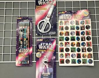 Vintage Star Wars Stationery Set Lot 90s Stamper Stickers