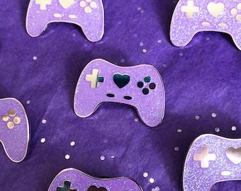 GeekyGlamorous Controller Pin - Purple Glitter