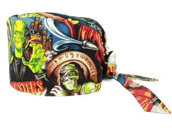 Hollywood Monsters Scrub Cap / Xray Tech / Veterinarian / Medical Surgical Hat / Washable / Made in USA / Adult