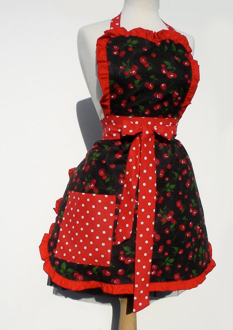 Vintage Aprons, Retro Aprons, Old Fashioned Aprons & Patterns Retro Apron Vintage Inspired Cherry Apron FREE SHIPPING $36.95 AT vintagedancer.com