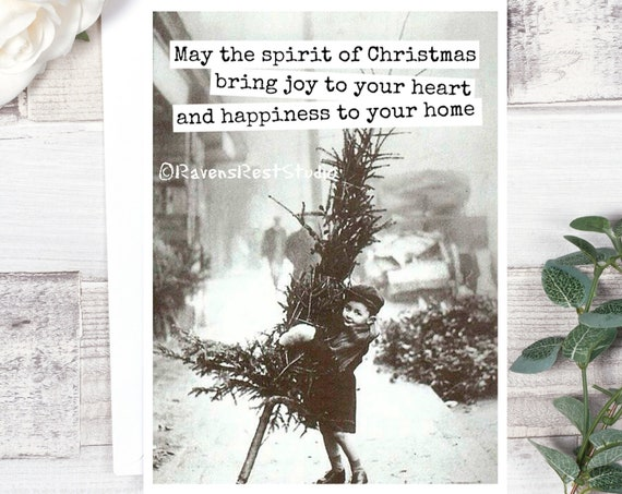 Vintage Christmas Card - #C22 - May The Spirit Of Christmas Bring Joy To Your Heart And Happiness To Your Home / Greeting Card