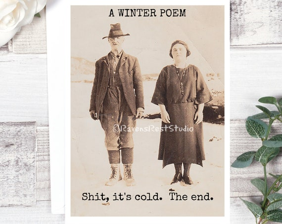 Funny Christmas Card - #C58 - A Winter Poem  Shit It's Cold.  The End / Greeting Card / Vintage Christmas Card