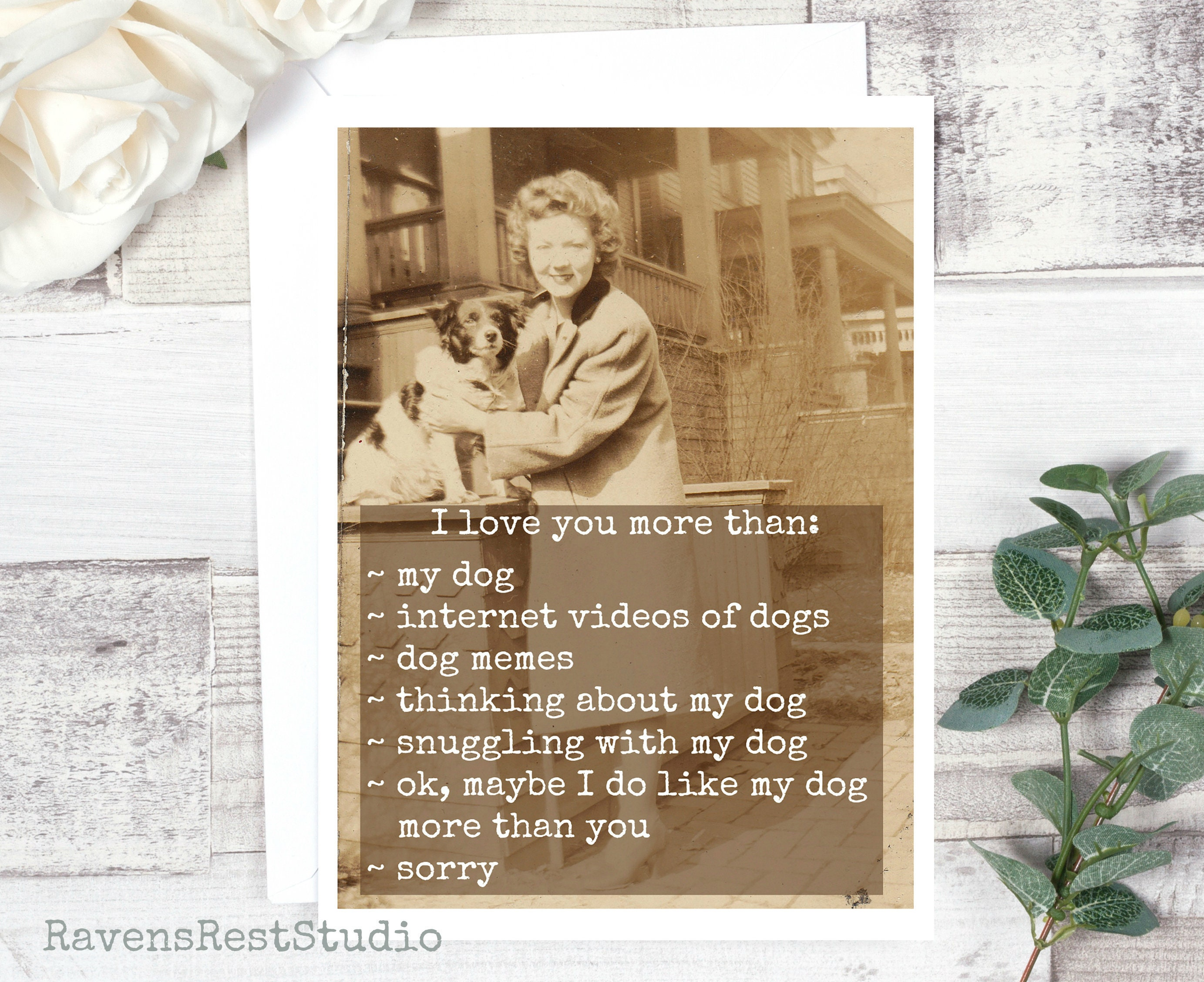 Funny Greeting Card Card For Dog Lover Love Card Vintage Photo