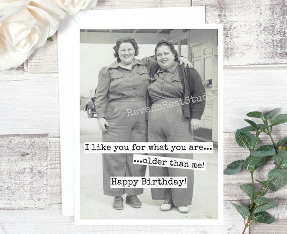 Funny Birthday Card. Greeting Card. Card For Her. Vintage Photo. Vintage Friends. I Like You For What You Are... Older Than Me! Card #551.