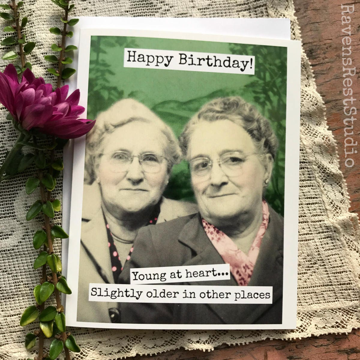 Funny Birthday Card. Greeting Card. Vintage Photo Booth Photo. Happy Birthday! Young At Heart
