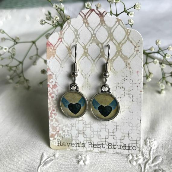 Handmade Resin Earrings. Winged Hearts. Vintage Style. Dangle Drop Earrings. Surgical Steel. Gift For Her. Sweet Black Heart Earrings