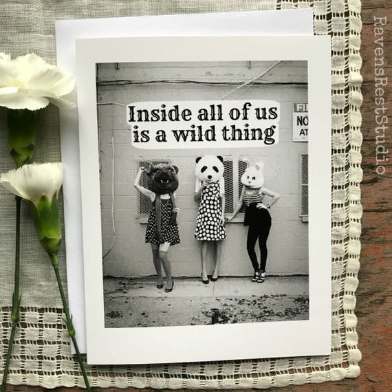 Greeting Card Sweet Quote Vintage Photo Card Vintage Costume 60s Sixties Fashion Inside All of Us is a Wild Thing Card #35