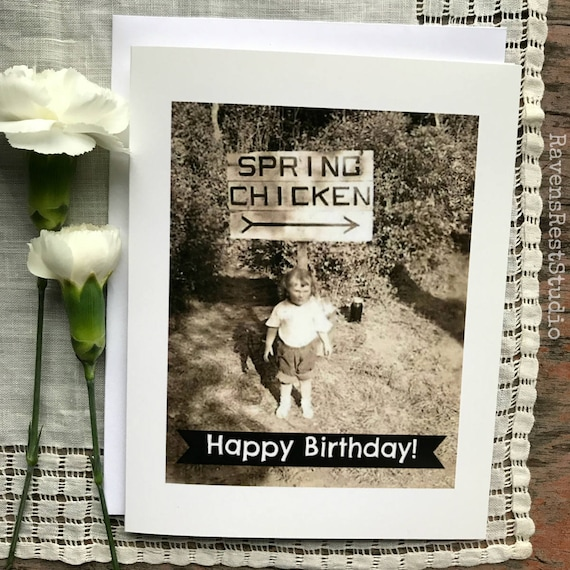 Birthday Card Spring Chicken - Happy Birthday - Blank Inside Greeting Card #189
