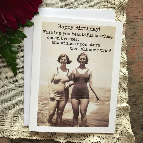Birthday Card. Greeting Card. Beach Quote. Vintage Photo. Beautiful Beaches, Ocean Breezes, Wishes Upon Stars... Card #517.