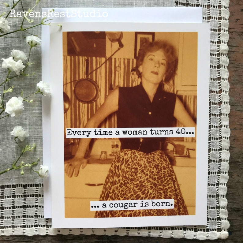 Funny Birthday Greeting Card 40th Vintage