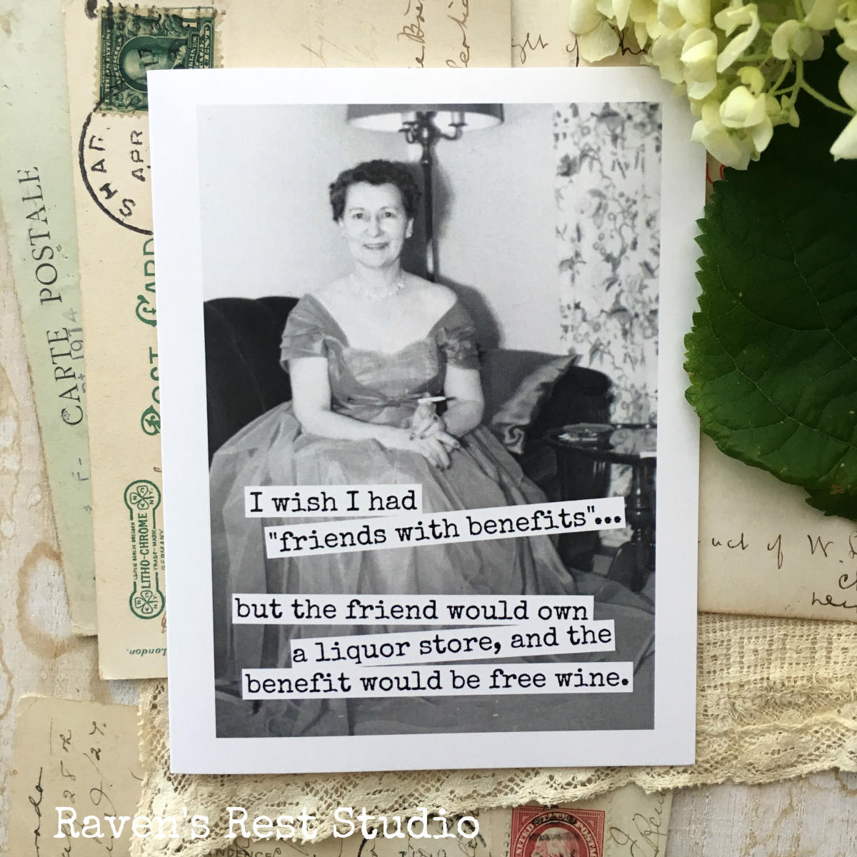 funny greeting card vintage photo friendship i wish i had friends