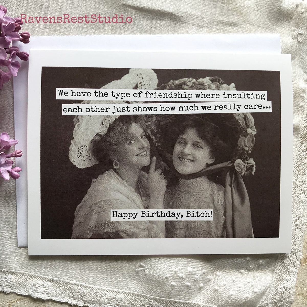 Funny Birthday Card Friendship Quote Vintage Friends Photo We Have The Type Of Where Insulting 516
