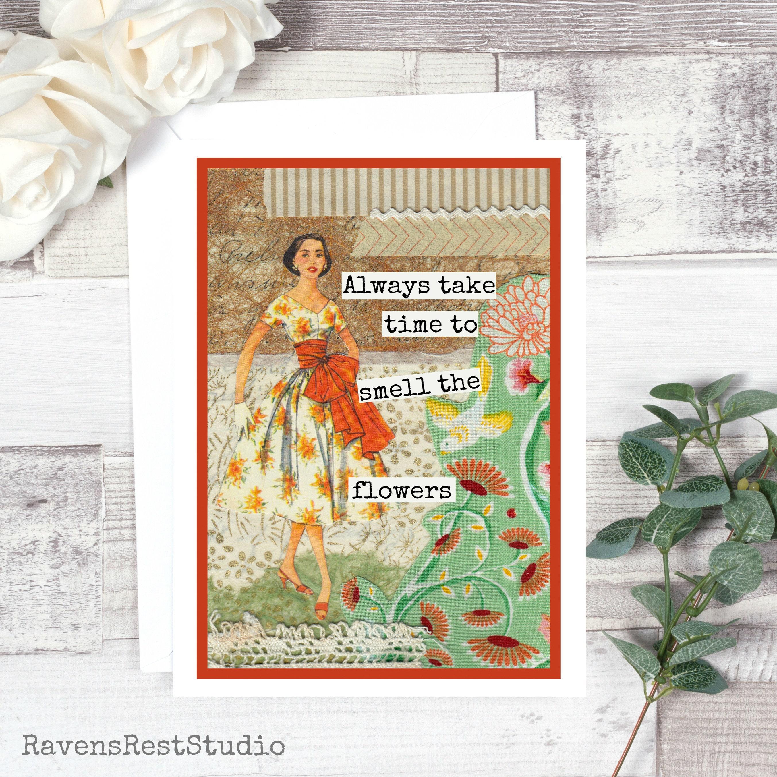 Greeting Card Vintage Style Vintage Sewing Pattern Collage Flower