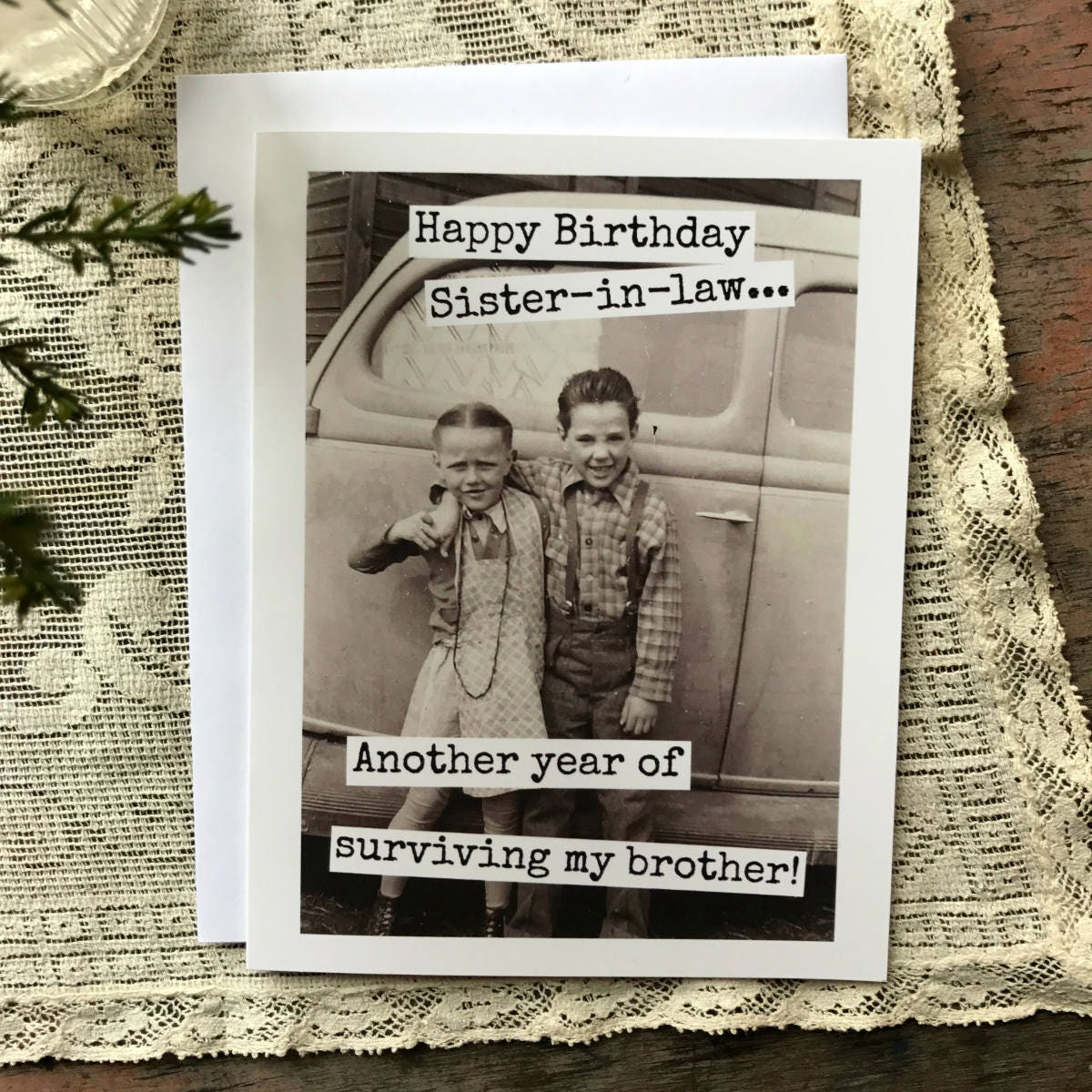 Funny Birthday Card. Vintage Style. Vintage Photo