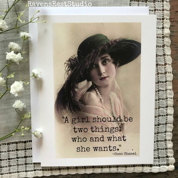 Motivational Greeting Card. Card For Her. Vintage Photo. Vintage Postcard. Friendship Card. A Girl Should Be Two Things... Card #200.