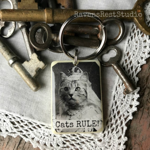 Handmade Recycled Game Piece Resin Keychain. Gift For Cat Lover. Cats RULE! #R49