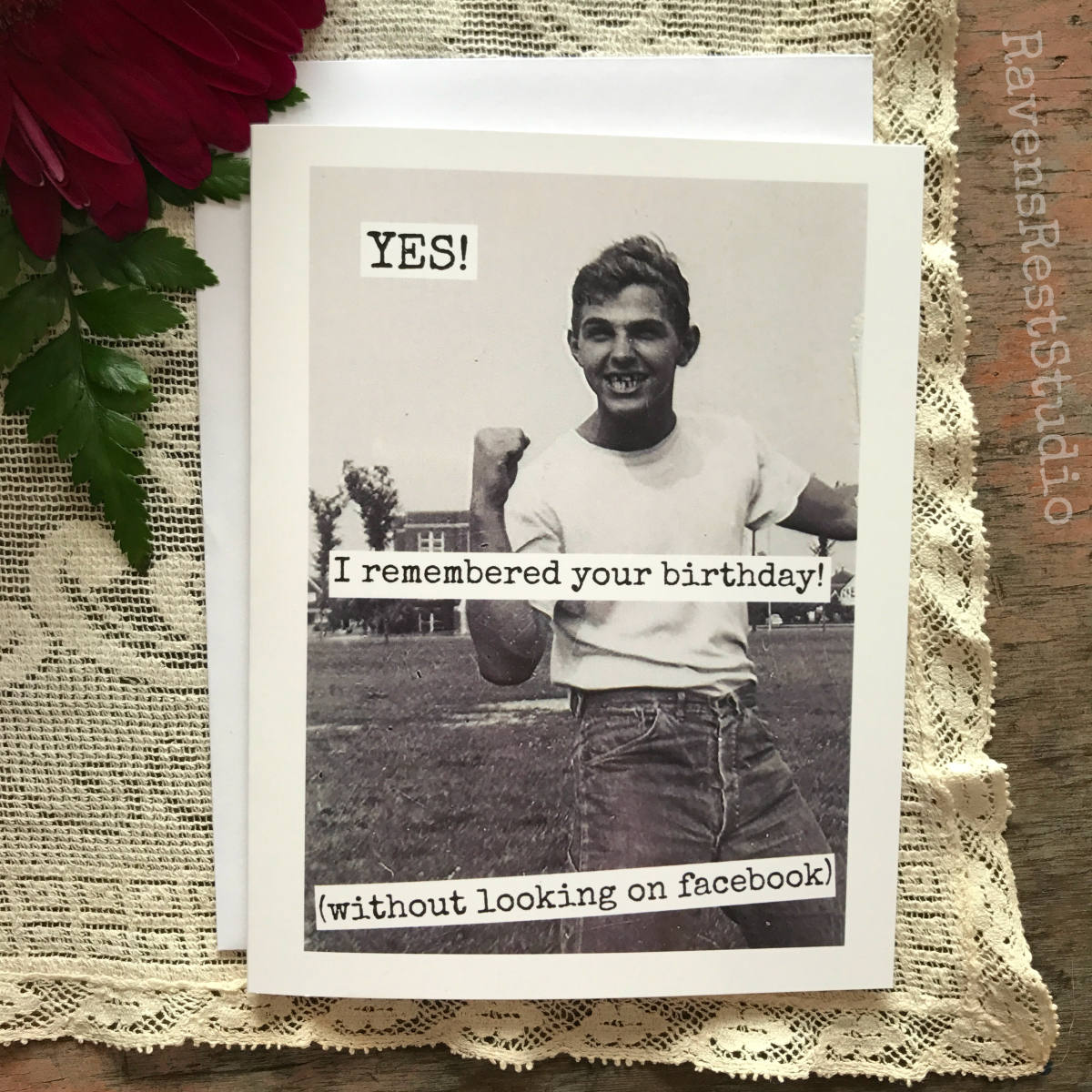 Funny Birthday Card Men Man Quote Vintage Photo Yes I Remembered Your Without Looking On Facebook 519