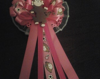 Custom pink   Mod Monkey Baby shower corsage &25   pin ons/capias