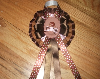 Custom brown and pink polka dot     baby shower corsage