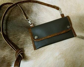 Handcrafted Leather BOHO Bag Zippered closer ADJUSTABLE strap 1outside pocket 1 inside drop pocket made in Oregon Shoulder bag