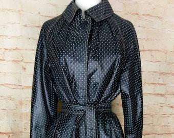Diane Von Furstenberg for Main Street Black White Dot Rain Coat M 6 8 10