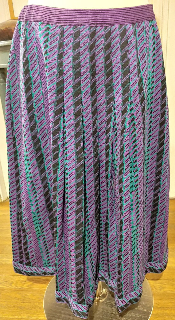"Lanvin 70s Knit Pleated Skirt Waist 32"" M L - image 1"