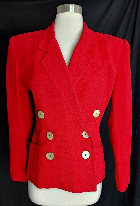 Norma Kamali Red 80s Suit Jacket Blazer Sz 4