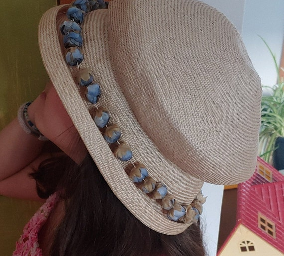 30s Straw Hat with Blue Flower Buds