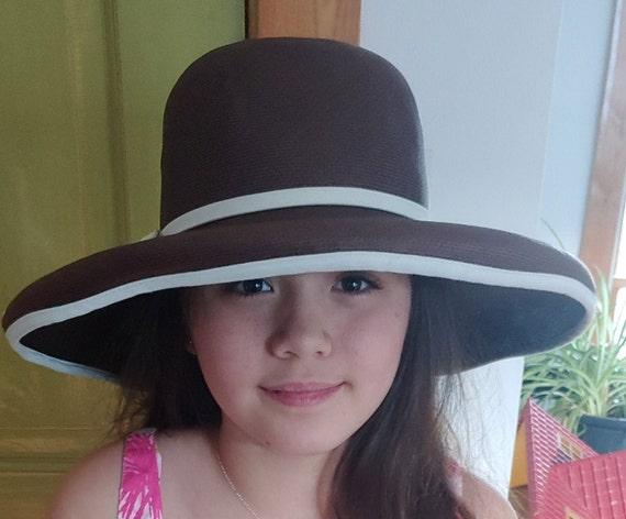 70s Frank Olive Brown Wide Brim Straw Hat w White