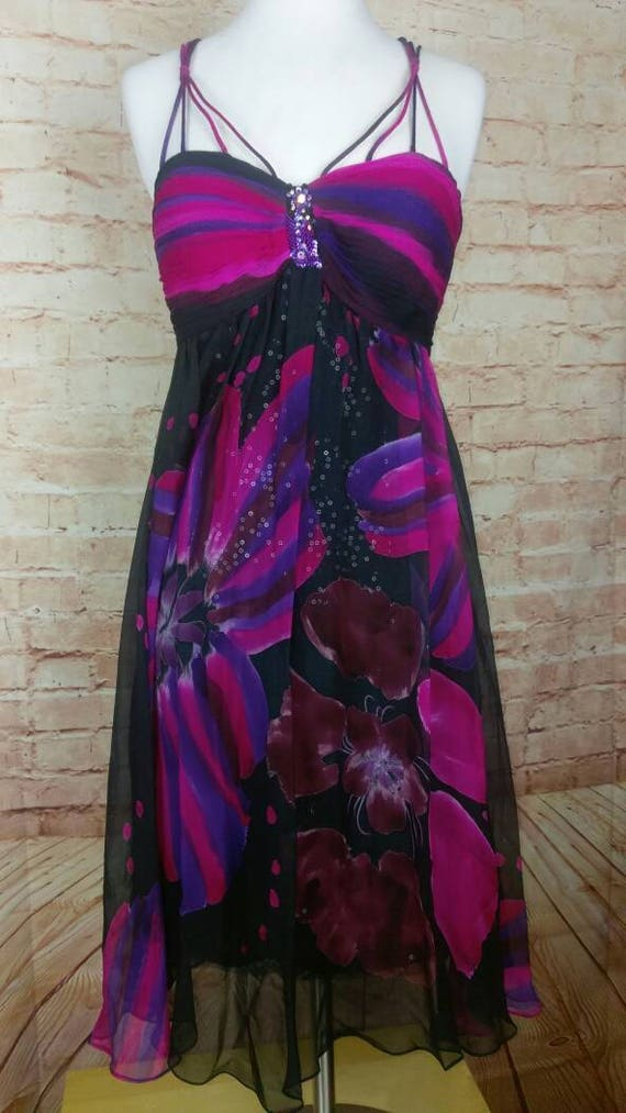 Diane Freis 90s Silk Sequin Cocktail Dress sz 8