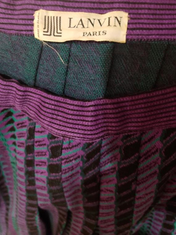 "Lanvin 70s Knit Pleated Skirt Waist 32"" M L - image 2"