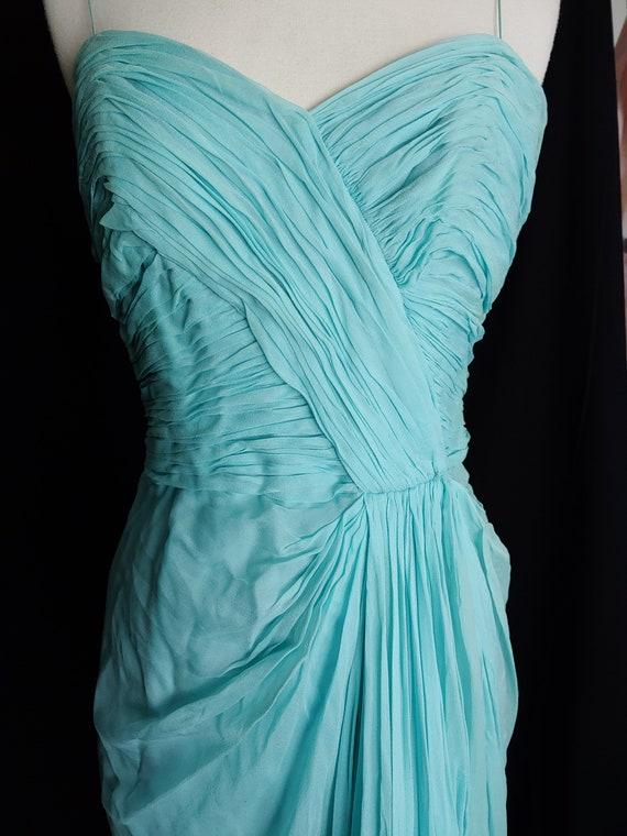 Frank Starr Aqua Silk Chiffon Goddess Gown Dress S