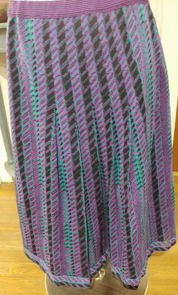 "Lanvin 70s Knit Pleated Skirt Waist 32"" M L - image 3"