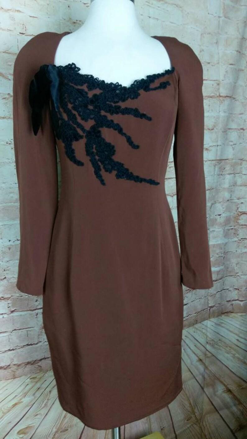 Sam Carlin Neiman Marcus Brown Silk Dress 80s Size 4