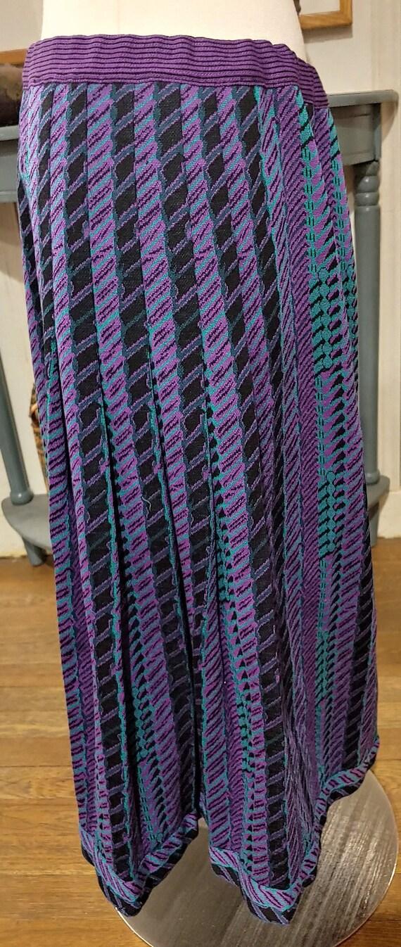 "Lanvin 70s Knit Pleated Skirt Waist 32"" M L - image 4"