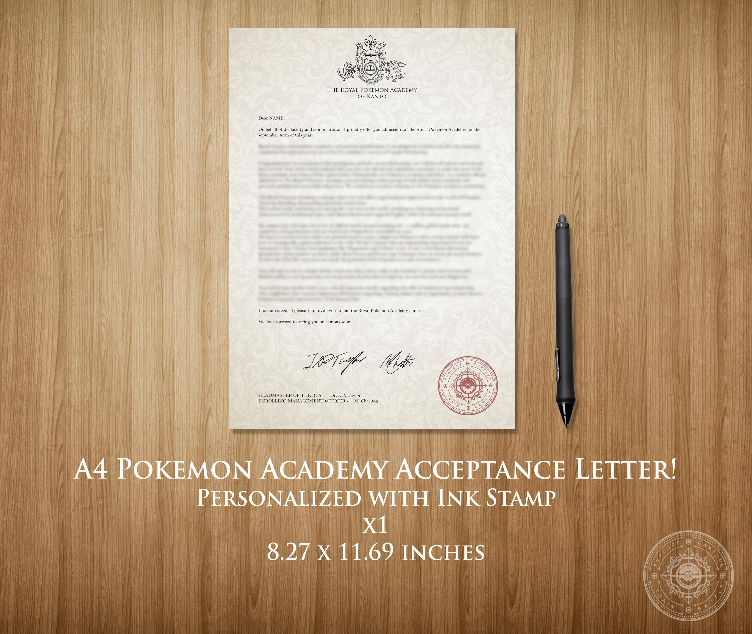 A4 Pokemon Academy Acceptance Letter Customizable