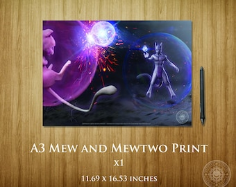 Mew and Mewtwo Battle A3 Poster