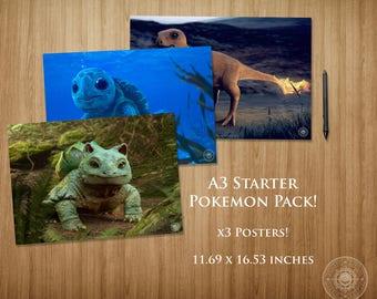 Starter Pokemon Pack A3 Poster