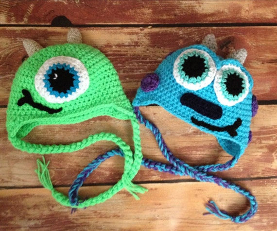 34825a3882d Mike or sully hat crochet beanie newborn baby toddler