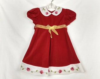59fcb653bd0 Vintage Christmas Toddler Dress Size 3T   Red Velvet Embroidered Floral  Details   Holiday   Toddler Portrait Dresses Christmas Party
