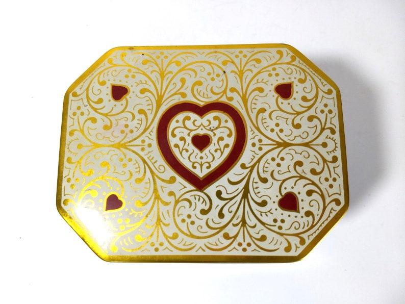 Vintage Heart Tin  Hexagonal Metal Metalware Lidded Covered Gift Box Gift For Her Gold Red Love