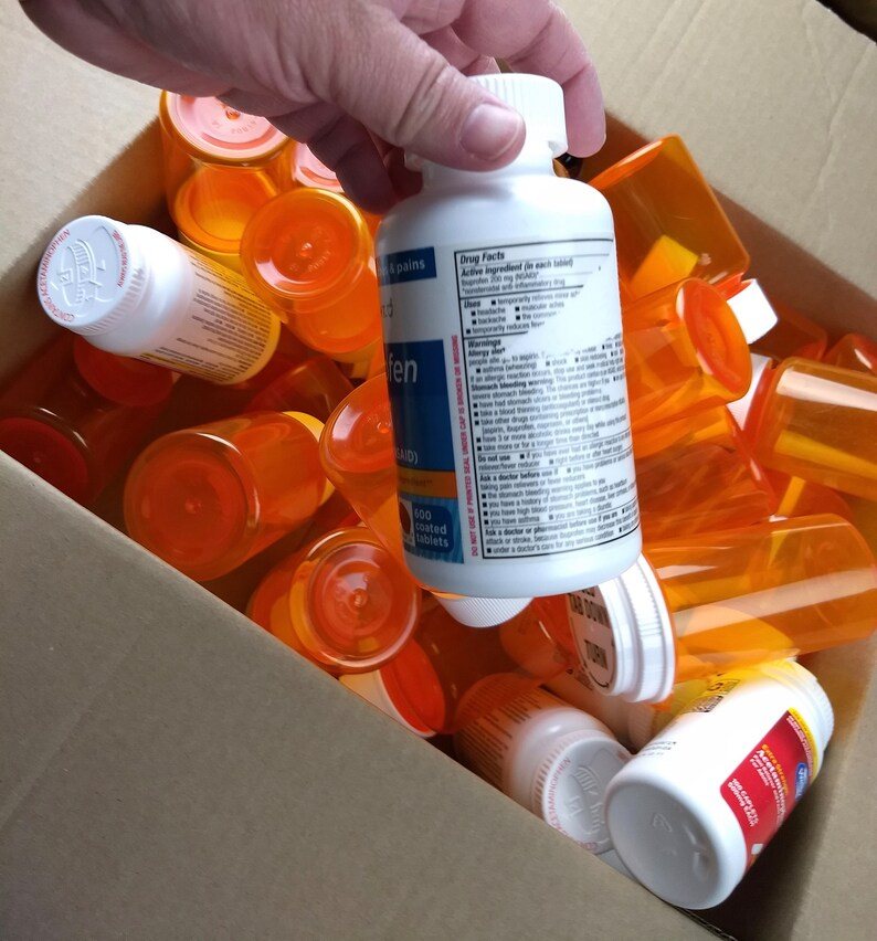 Lot Of 80 Empty Clean Plastic Pill Bottles With Lids Amber Etsy