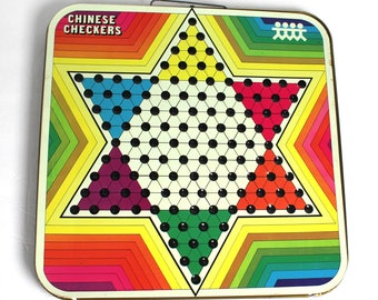 Vintage Chinese Checkers / Regular Checkers Metal Folding Double Board Game / Wall Decor / Pressman Toy Game / Kids Play Room Decor