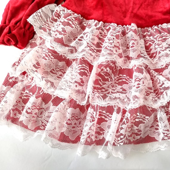 c5f789fdc9b Vintage Christmas Toddler Dress Size 18 mo   Red Velvet Ruffle