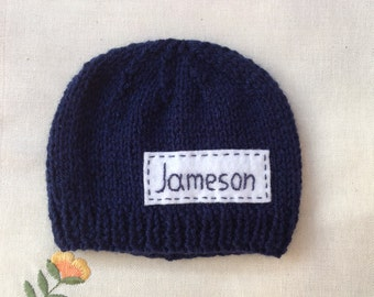 Newborn photo prop, navy blue newborn hat, personalized newborn hat with name, newborn boy, monogram baby hat, , name beanie, newborn hats