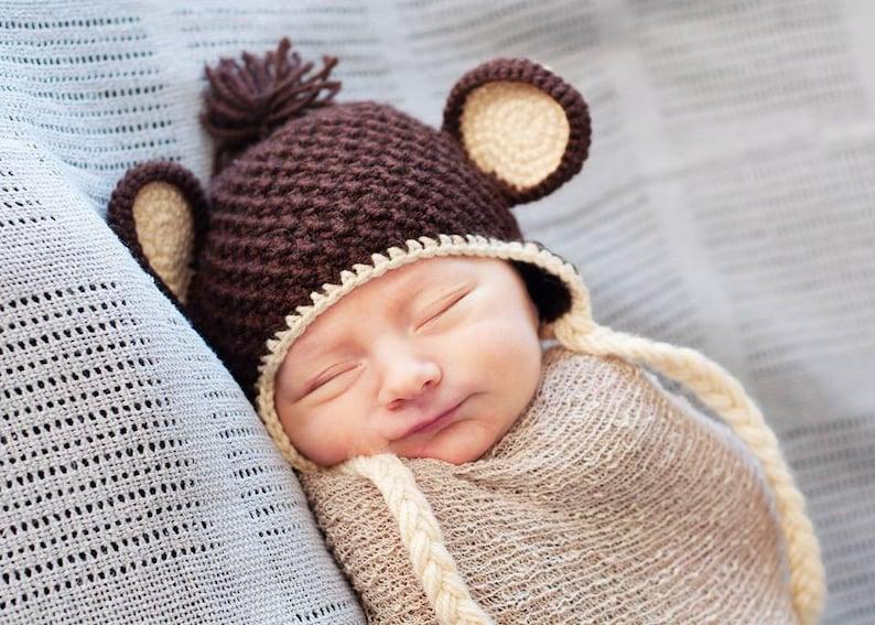 Newborn photo prop monkey newborn hat Newborn boy newborn  f33d1ce5cd04