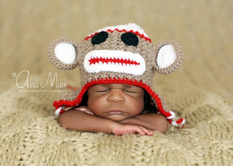 Newborn photo prop monkey newborn  baby hat newborn boy  499859dc4db5