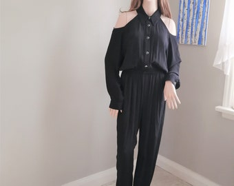 Frank Women/'s Size Small to Medium Slouchy Oversized by d Black Jumpsuit